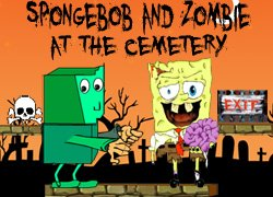 Download Spongebob And Zombie At The Cemetery